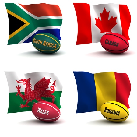 depict: 3D Render of 4 of the 20 participating nations in the rugby world cup. Ball colors depict the colors that the team usually wears. South AFrica, Canada, Wales, Romania - see other images for remainder of teams Stock Photo