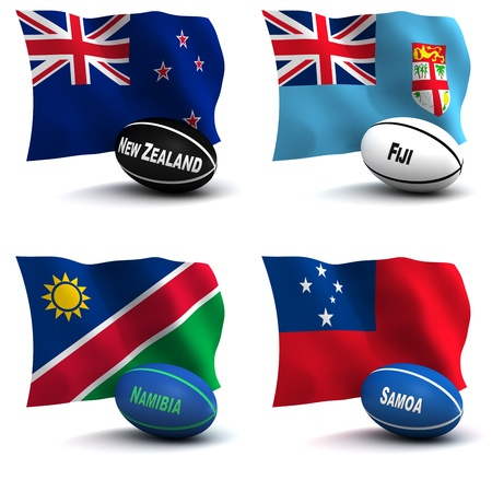 depict: 3D Render of 4 of the 20 participating nations in the rugby world cup. Ball colors depict the colors that the team usually wears. New Zealand, Fiji, Namibia, Samoa - see other images for remainder of teams