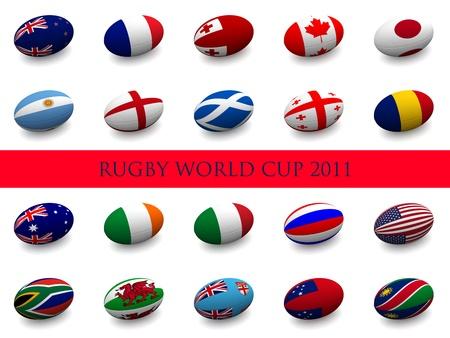 pelota rugby: Render 3D de una pelota de rugby con la bandera nacional de cada uno de los 20 participantes de las Naciones Unidas en la Copa del mundo.