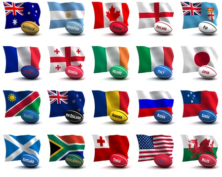 rugby ball: 3D Render of all the participating nations in the rugby world cup.