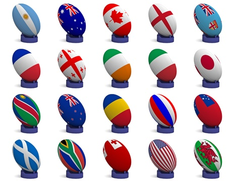 world ball: 3D Render of a rugby ball with the national flag of each of the 20 participating nations in the rugby world cup, on a kicking tee