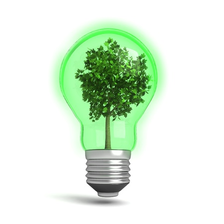 Three dimensional render of a green light bulb with a tree in it. Concept for renewable energy. photo