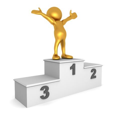 triunfador: 3D rinden de una figura de oro humanos en la parte superior de un podio celebrando su logro
