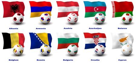 bandera de croacia: Tridimensional de procesamiento de diez países de Europa de fútbol mejor. 1 de 5 en esta serie.
