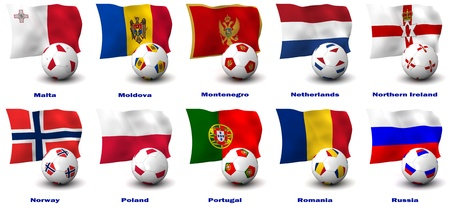 poland flag: Three dimensional render of ten of Europes best Football Nations. 4 of 5 in this series. Stock Photo