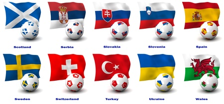 Three dimensional render of ten of Europes best Football Nations. 5 of 5 in this series. photo