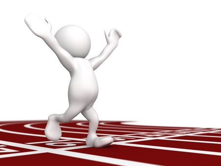 aloft: Three dimensional render of a human figurine running with hands aloft