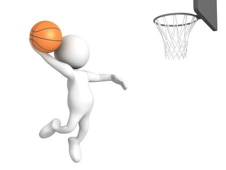 Tres de representaci�n tridimensional de una pelota de baloncesto figura humana de juego Foto de archivo - 13502300