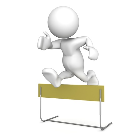competitive: Three dimensional render of a human figurine jumping over a hurdle