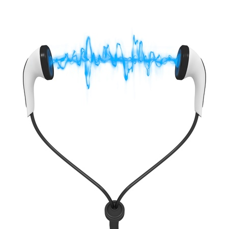 sound waves: Three dimesional render of a set of earphones with sound waves