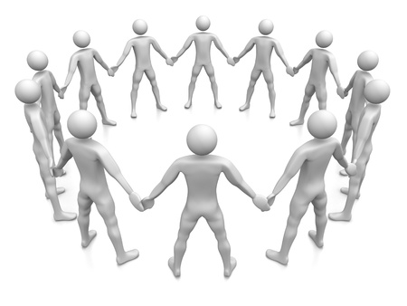 human chain: Computer Rendered Graphic of a team of people holding hands in a circle