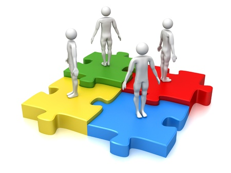 merge: Computer Rendered Graphic of a concept for teamwork