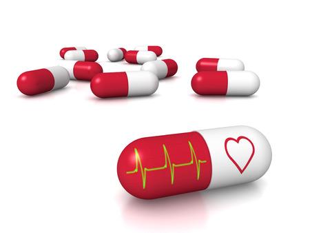 sick people: 3D render of heart pills
