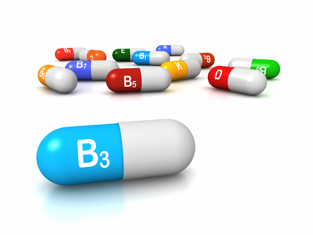 High resolution 3D render of vitamin supplements, focus on Vitamin B3 Niacin