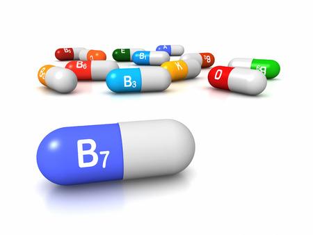 biotin: High resolution 3D render of vitamin supplements, focus on Vitamin B7 Biotin