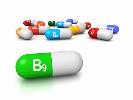 vitamin: High resolution 3D render of vitamin supplements, focus on Vitamin B9 Folic Acid