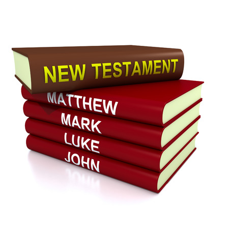 new testament: High resolution 3D render of pile of the books of the New Testament