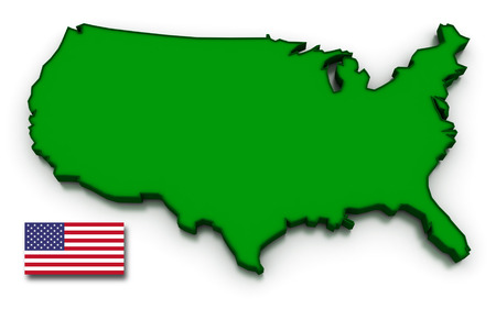 topographical: 3D render of the American map and flag.
