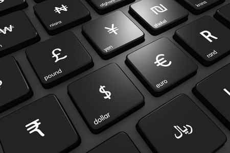 business money: Three dimensional render of world currencies on a modern keyboard. Concept for finance. Currency icons made by Freepik from www.flaticon.com