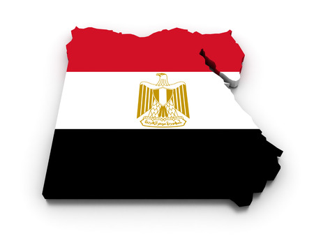 bandera de egipto: 3D render of the Egyptian map in the colors of its flag. Foto de archivo