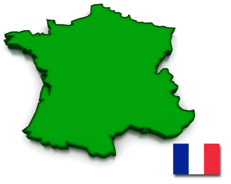topographical: 3D render of the French map and flag.