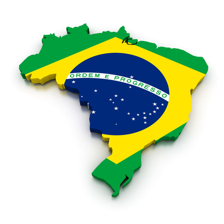 topographical: 3D render of the Brazilian map in the colors of its flag.