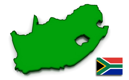 south african: 3D render of the South African map and flag.