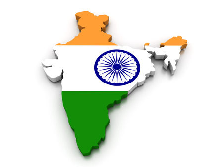 topographical: 3D render of the Indian map in the colors of its flag.