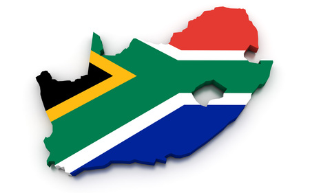 south african: 3D render of the South African map in the colors of its flag.