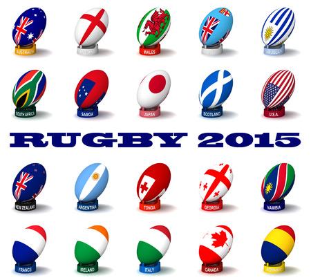 copa: Tres dimensiones de procesamiento de las banderas y los nombres de los países participantes en el Rugby 2015 Foto de archivo