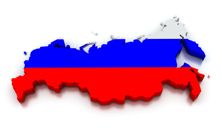 topographical: 3D render of the Russian map in the colors of its flag.