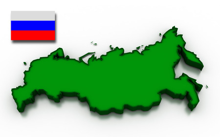 topographical: 3D render of the Russian map and flag. Stock Photo