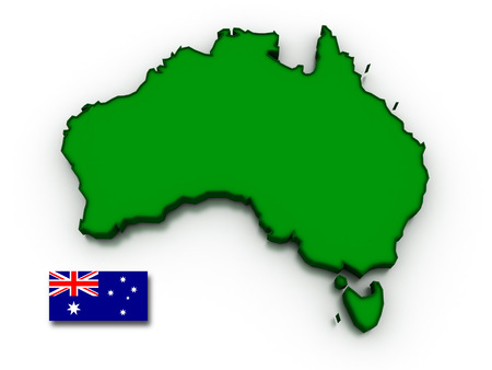 topographical: 3D render of the Australian map and flag. Stock Photo