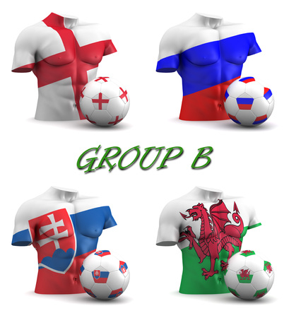 group b: Three dimensional render of a torso and ball depicting the four teams in group B Stock Photo