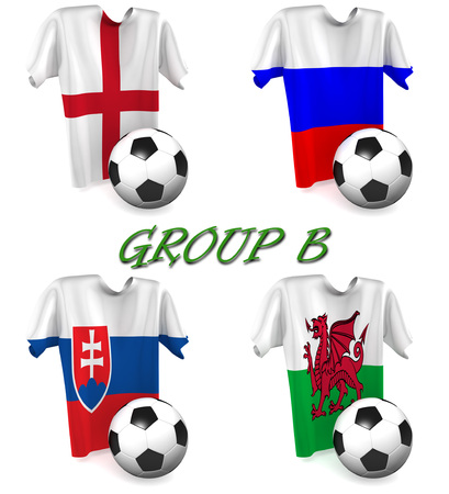 b ball: Three dimensional render of a t-shirt and ball depicting the four teams in group B