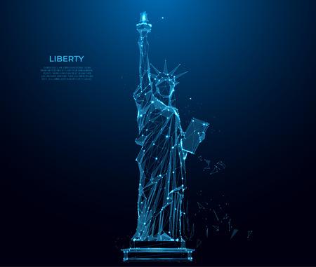 Estatua de la libertad en la ciudad de Nueva York a partir de partículas, líneas y triángulos sobre fondo azul. Silueta de estructura metálica poligonal. Arte de malla, poli baja. Ilustración de vector