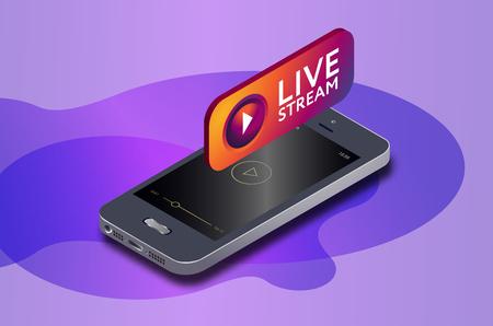 Icône de téléphone mobile isométrique et de flux vidéo en direct. diffusion en ligne via smartphone. Illustration vectorielle isométrique 3D.