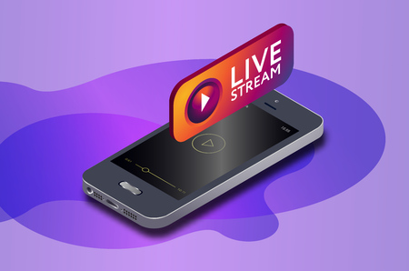 Isometric mobile phone and live video stream icon. online streaming via smartphone. 3d isometric vector illustration.