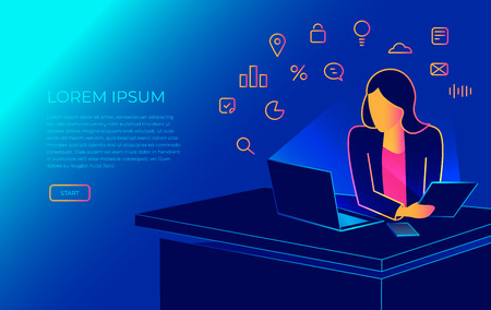 Isometric woman sitting in the office at work desk and working with laptop. Modern gradient line vector illustration of student working, programing or writing. People elearning and studying Illustration