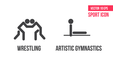 Freestyle wrestling, greco-roman wrestling and artistic gymnastics sport icons