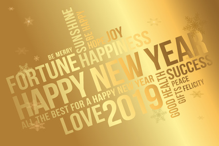 Happy New Year 2019 greeting card. Wishes every success, happiness, joy, best of everything, good health, love. 2019 new year greeting banner.