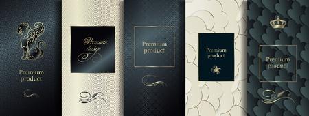 Design haut de gamme de luxe. Vecteur défini des modèles d'emballage avec une texture différente pour les produits de luxe. Collection d'éléments de conception, d'étiquettes, de cadres, pour l'emballage, avec une feuille d'or sur fond noir