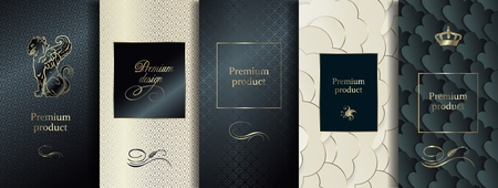 Luxus-Premium-Design. Vektorset-Verpackungsvorlagen mit unterschiedlicher Textur für Luxusprodukte. Sammlung von Designelementen, Etiketten, Rahmen, zum Verpacken, mit goldener Folie auf schwarzem Hintergrund