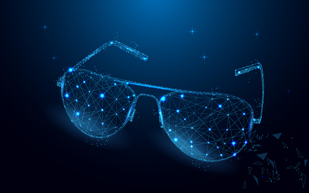 Sunglasses form lines and triangles, point connecting network on blue background. Geometric polygonal spectacles. Fashion concept.  Polygonal wireframe glasses on blue night sky with dots and stars.