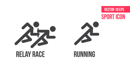 Running icon, relay race vector icon. Set of sport vector line icons. athlete pictogram, flaticon