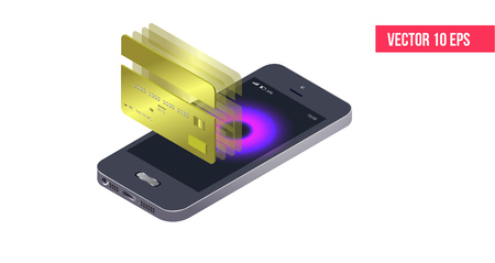 Isometric mobile phone and internet banking. protection shopping wireless pay through isometric smartphone. digital technology transfer pay.  Online payment security transaction via credit card. Çizim