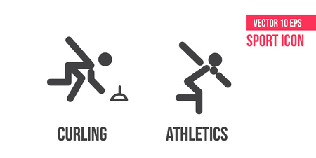 Curling and athletics sign icon. Set of sport vector line icons. Curling and athletics pictogram Иллюстрация