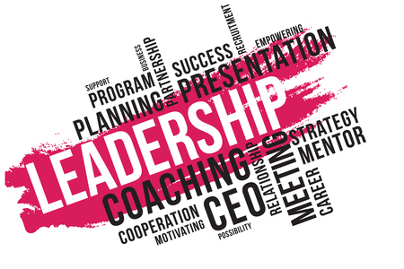 Leadership word cloud collage, business concept background.