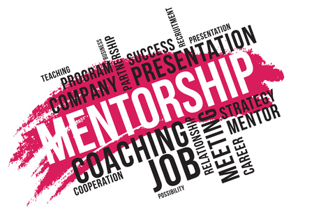 MENTORSHIP, mentoring word cloud collage, business concept background.