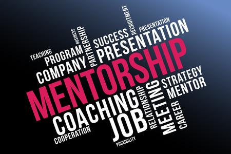 MENTORSHIP, mentoring word cloud collage, business concept background.